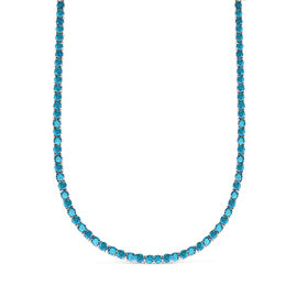 One Time Mega Deal- Simulated Tourmaline (Rnd 4mm, 25 Ct Equivalent) Tennis Necklace (Size 19) in Si