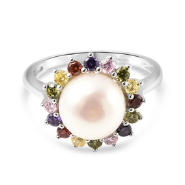 White Fresh Water Pearl and Multi Colour Simulated Diamond Ring in Rhodium Overlay Sterling Silver