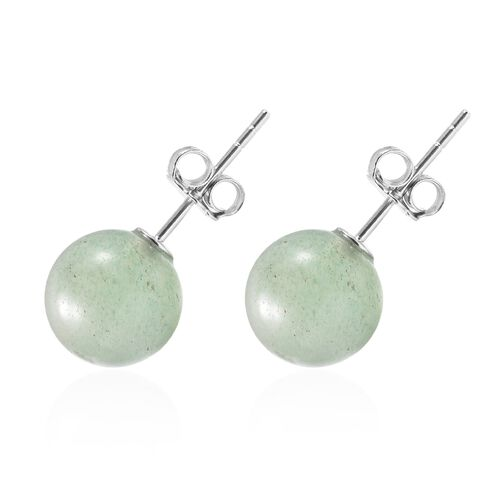 Green Aventurine (Rnd) Earrings (with Push Back) in Rhodium Overlay Sterling Silver 7.00 Ct.