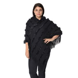Knit Fluffy Stripe Pattern Hooded Poncho with Tassels (Size 85x85 Cm) - Black