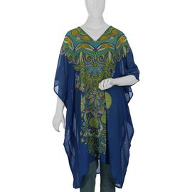 New Season: Screen Printed Kaftan (Size 88.9x96.52 Cm) - Blue