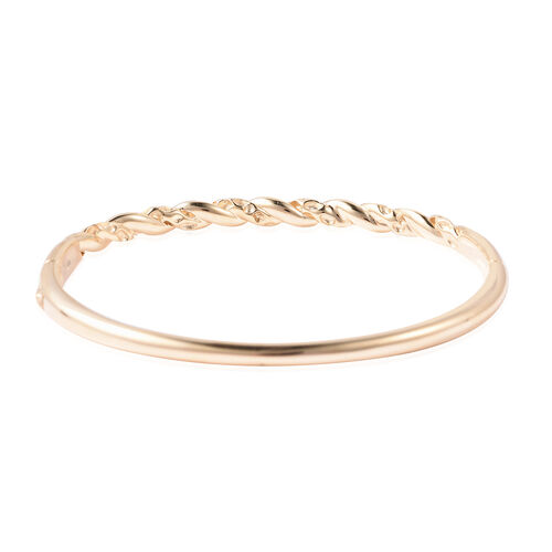 RACHEL GALLEY Yellow Gold Overlay Sterling Silver Twisted Lattice Bangle (Size 7.5), Silver wt 22.76 Gms
