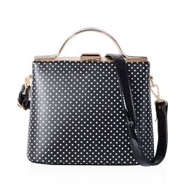 Boutique Collection Black Colour Polka Dot Pattern Tote Bag with Removable Shoulder Strap (Size 22x1