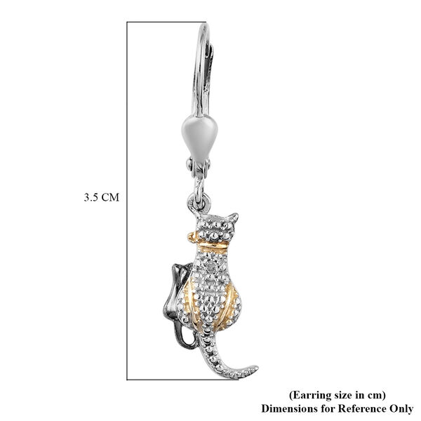 Diamond (Rnd) Cat Hook Earrings in Platinum Overlay Sterling Silver with Black and Yellow Gold  Plating