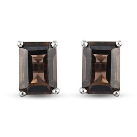 Smoky Quartz Earrings (with Push Back) in Platinum Overlay Sterling Silver 2.05 Ct.