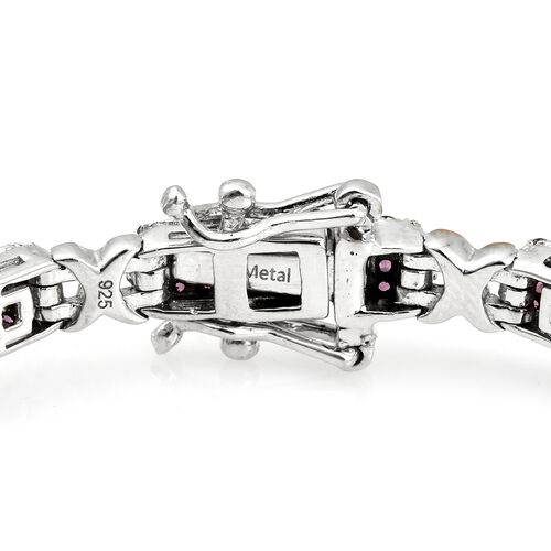 Designer Inspired -Rhodolite Garnet (Rnd) Bracelet (Size 8) in Platinum and Rose Gold Overlay Sterling Silver 6.000 Ct. Silver wt 15.95 Gms