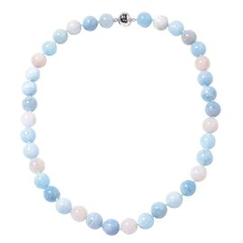465.51 Ct Multi Aquamarine and Morganite Beaded Necklace in Rhodium Plated Silver 20 Inch