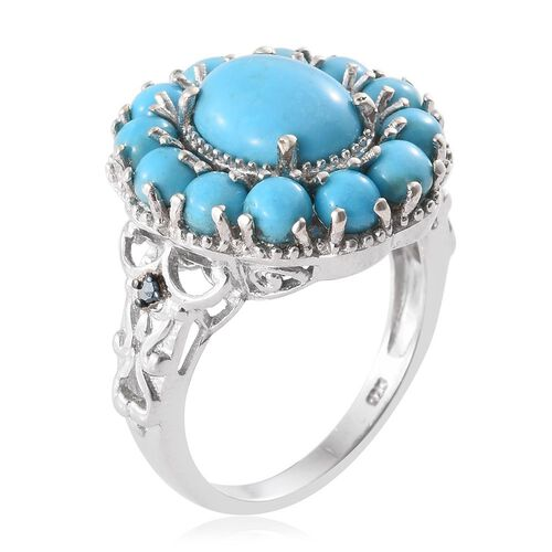 Arizona Sleeping Beauty Turquoise (Ovl 2.75 Ct), Blue Diamond Floral Ring in Platinum Overlay Sterling Silver 5.750 Ct. Silver wt 6.67 Gms.
