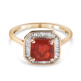 1.50 Ct AAA Jalisco Fire Opal and Diamond Halo Ring in 9K Gold