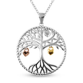 Plain Pendant with Chain(size 18) in Rose Gold, Yellow Gold and Rhodium Overlay Sterling Silver