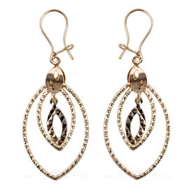 Royal Bali Collection 9K Yellow Gold Diamond Cut Twisted Drop Dangle Earrings (with Hook)