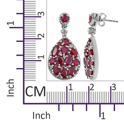 African Ruby, Natural Cambodian Zircon Drop Earrings (with Push Back) in Platinum Overlay Sterling Silver 7.750 Ct. Silver wt 6.00 Gms.
