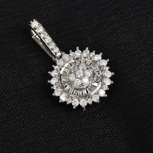 9K White Gold SGL Certified Diamond (I3/G-H) Pendant 0.50 Ct.
