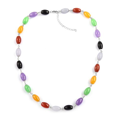 Very Rare Shape Multi Colour Jade Necklace (Size 18 with 2 inch Extender) in Rhodium Plated Sterling