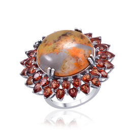 25.25 Ct Bumble Bee Jasper and Orange Sapphire Halo Ring in Platinum Plated Silver 9 Grams