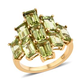 5.50 Ct Hebei Peridot Cluster Ring in Gold Plated Sterling Silver