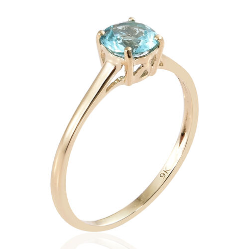 9K Yellow Gold AA Paraibe Apatite (Rnd) Solitaire Ring 0.850 Ct.