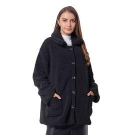 New Season - Designer Inspired - Teddy Faux Fur Coat (Size XL/14-16) - Black