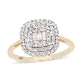 9K Yellow Gold SGL Certified Diamond (I3/G-H) Ring 0.50 Ct.
