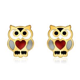 Children Owl Stud Earrings in 9K Yellow Gold