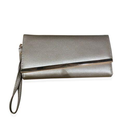 Gold Bar Classic Gold Colour Long Wallet (Size 19x10 Cm)