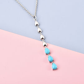 LucyQ Arizona Sleeping Beauty Turquoise Pendant with Chain (Size 24) in Rhodium Overlay Sterling Silver 1.98 Ct.