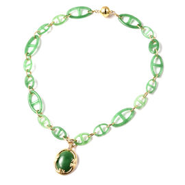 Green Jade and Natural Cambodian Zircon Necklace (Size 18) with Removeable Pendant in Yellow Gold Ov