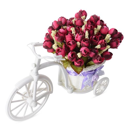 Home Decor - Nostalgic Bicycle with Artificial Flower Decor Plant Stand (Size 26x13x18 cm) - Colour White and Wine Red