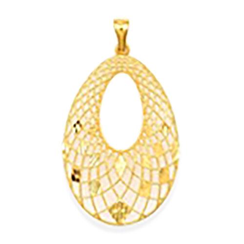 Italian Made - 9K Yellow Gold Diamond Cut Drop Pendant