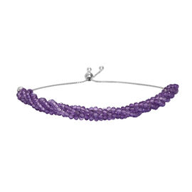 25.20 Ct Amethyst Bolo Adjustable Bracelet in Platinum Plated Sterling Silver