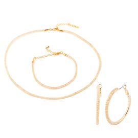 3 Piece Set - White Austrian Crystal (Rnd) Hoop Earrings (with Clip), Bracelet (Size 7 and 1.5 inch Extender) and Mesh Chain Necklace (Size 18 and 2 inch Extender) in Yellow Gold Tone