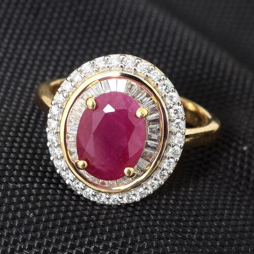 Super Auction- ILIANA 18K Yellow Gold AAAA Burmese Ruby (Ovl 9x7mm, 2.25 Ct), (SI/G-H) Diamond Ring 2.750 Ct. Gold wt 5.49 Gms