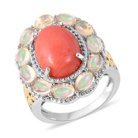 Living Coral (Ovl 14x10 mm), Ethiopian Welo Opal Ring (Size P) in Two Tone Sterling Silver 5.50 Ct, Silver wt
