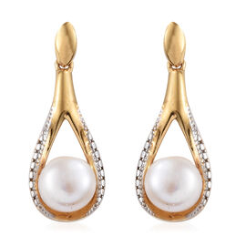 Fresh Water Pearl (Rnd) Drop Earrings (with Push Back) in 14K Gold Overlay Sterling Silver