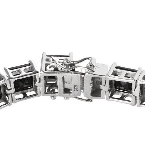 Elite Shungite (Sqr 6mm) Tennis Bracelet (Size 7) in Platinum Overlay Sterling Silver 16.00 Ct, Silver wt 13.50 Gms