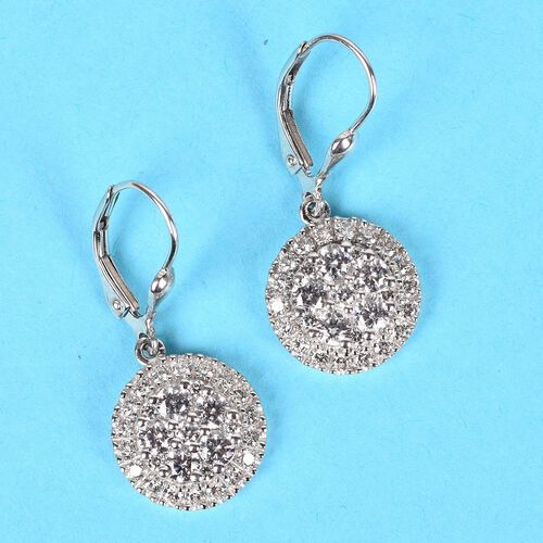 J Francis - Platinum Overlay Sterling Silver Drop Earrings Made with SWAROVKSI ZIRCONIA 7.07 Ct.