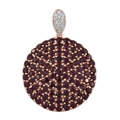 Rhodolite Garnet (Rnd), Natural Cambodian Zircon Cluster Pendant in Rose Gold Overlay Sterling Silver 12.000 Ct. Silver wt 8.52 Gms. Number of Gemstone 106