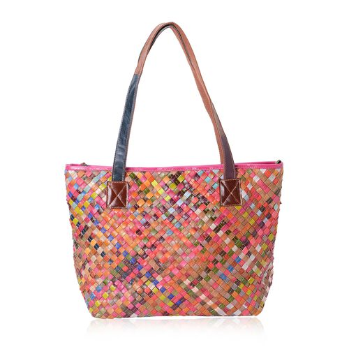 100% Genuine Leather Multi Colour Woven Pattern Tote Bag (Size 42x30x29x14 Cm)