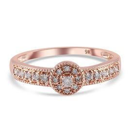 9K Rose Gold SGL Certified Pink Diamond (I3) Ring 0.25 Ct.