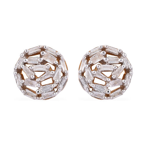 Diamond (Bgt) Stud Earrings (with Push Back) in 14K Gold Overlay Sterling Silver 0.345 Ct.