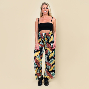 TAMSY One Size Leaf Pattern Trousers (Size:M/L,10-16) - Black and Multi