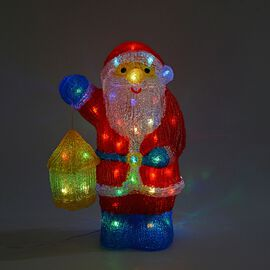 Santa Decorative Lamp with Multicolour Light (Size 40x27 Cm) - Red, Blue, Yellow and White