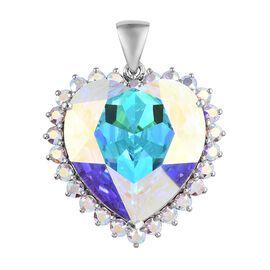 J Francis - Crystal from Swarovski AB Crystal (Hrt 28 mm) Pendant in Platinum Overlay Sterling Silve