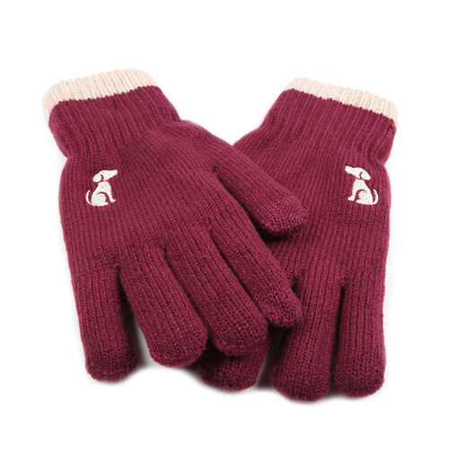 Ladies Warm Gloves with Embroidered Dog (One Size) - Burgundy
