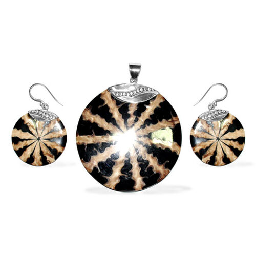 Bali Collection Enhanced Shell Earrings and Pendant Set in Sterling Silver 118.750 Ct.