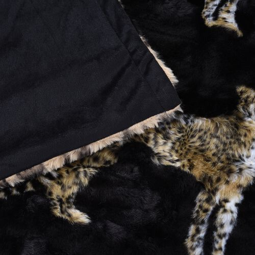 Super Soft Reversible Faux Fur Mink Leopard Pattern Blanket (Size 200x150 cm)