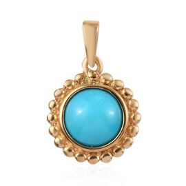 1.15 Ct Arizona Sleeping Beauty Turquoise Solitaire Floral Pendant in Gold Plated Sterling Silver