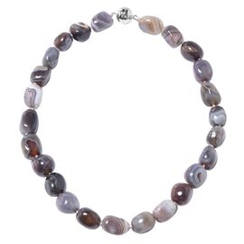 720 Ct Botswana Agate Beaded Necklace in Rhodium Plated Sterling Silver Size 20 Inch