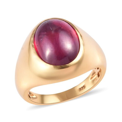 15.50 Ct AAA African Ruby Solitaire Ring in Gold Plated Sterling Silver