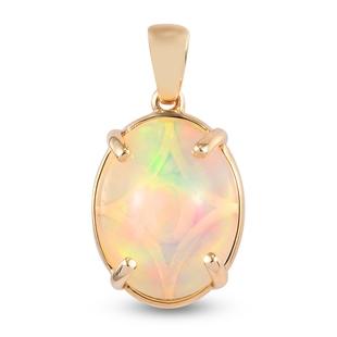 9K Yellow Gold Ethiopian Welo Opal Solitaire Pendant 3.06 Ct.